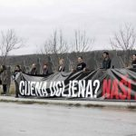 "International action in Plomin: activists called on the Croatian Government to give up on coal import and the construction of ""Plomin C"