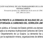 Comunicado de SINTRACARBÓN frente a Demanda de nulidad a la licencia ambiental de Cerrejón